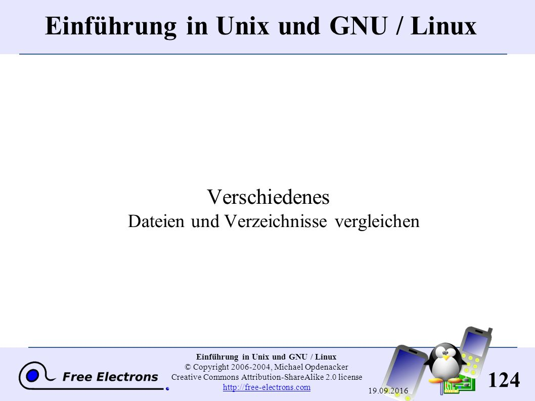 124 Einführung in Unix und GNU / Linux © Copyright 2006-2004, Michael Opdenacker Creative Commons Attribution-ShareAlike 2.0 license http://free-elect
