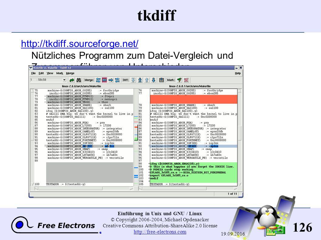 126 Einführung in Unix und GNU / Linux © Copyright 2006-2004, Michael Opdenacker Creative Commons Attribution-ShareAlike 2.0 license http://free-elect