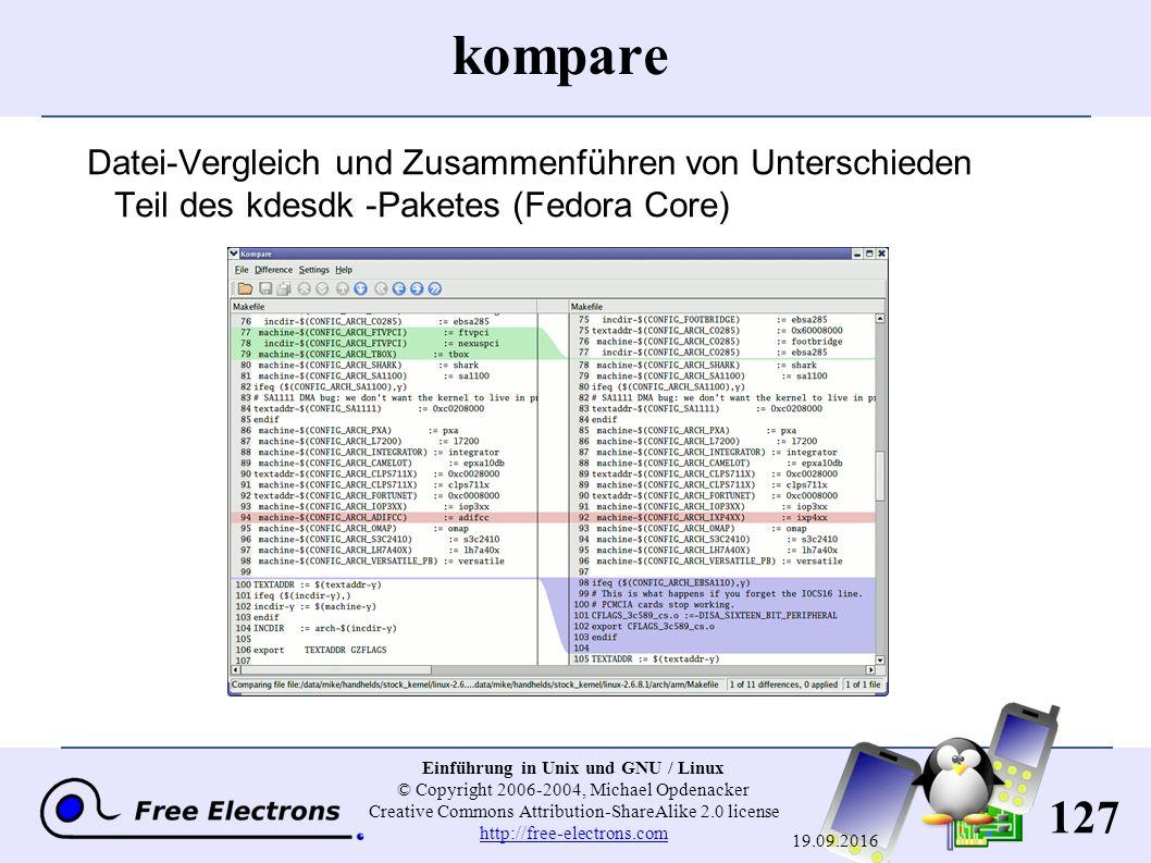 127 Einführung in Unix und GNU / Linux © Copyright 2006-2004, Michael Opdenacker Creative Commons Attribution-ShareAlike 2.0 license http://free-elect