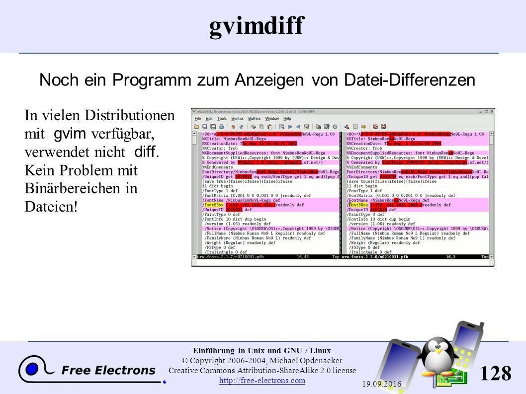 128 Einführung in Unix und GNU / Linux © Copyright 2006-2004, Michael Opdenacker Creative Commons Attribution-ShareAlike 2.0 license http://free-elect