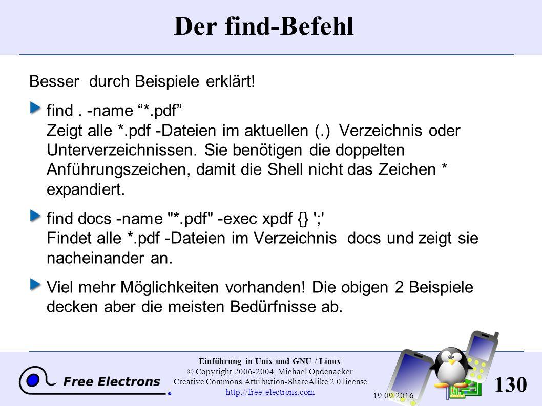 130 Einführung in Unix und GNU / Linux © Copyright 2006-2004, Michael Opdenacker Creative Commons Attribution-ShareAlike 2.0 license http://free-elect