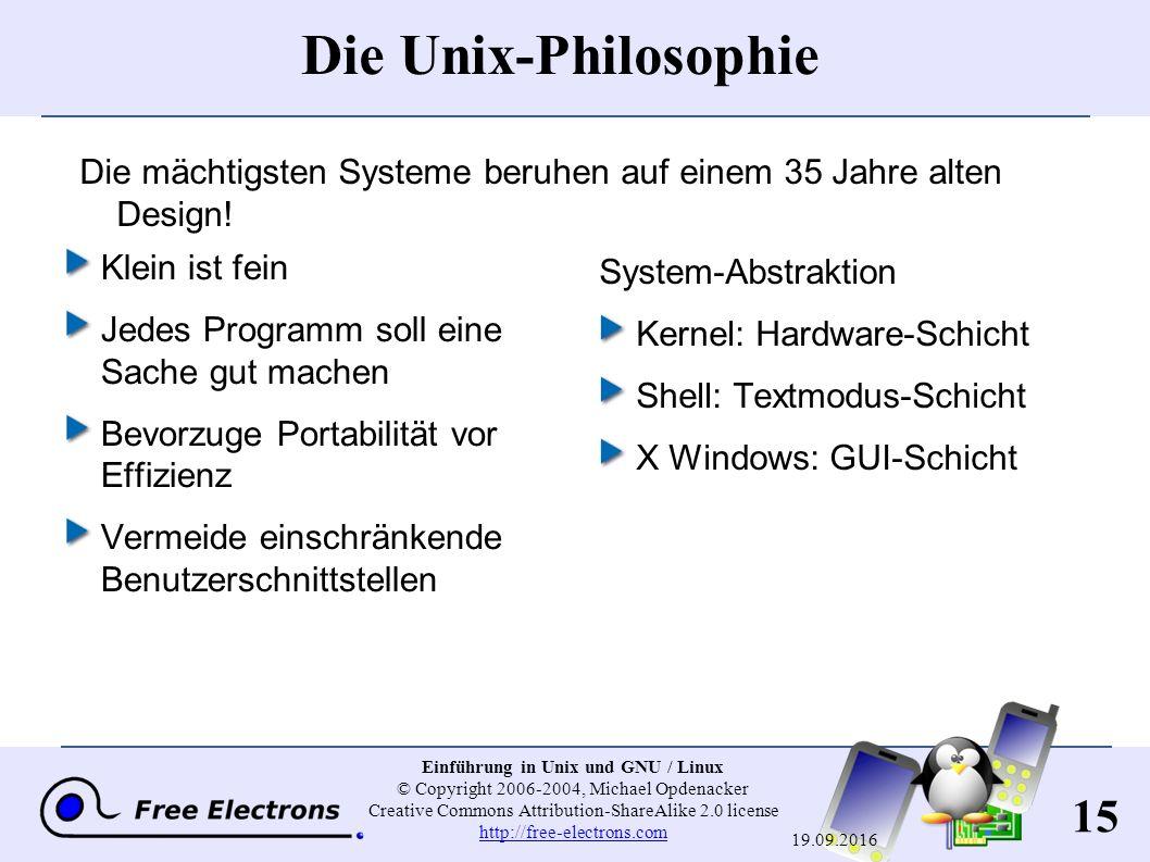 15 Einführung in Unix und GNU / Linux © Copyright 2006-2004, Michael Opdenacker Creative Commons Attribution-ShareAlike 2.0 license http://free-electr