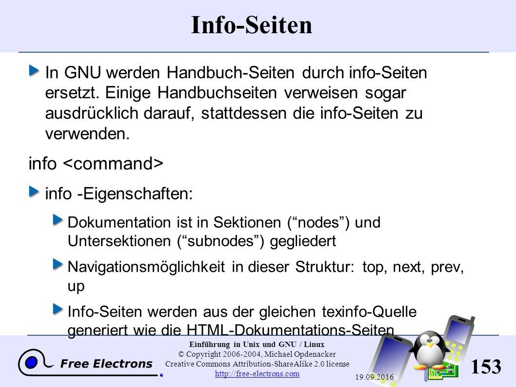 153 Einführung in Unix und GNU / Linux © Copyright 2006-2004, Michael Opdenacker Creative Commons Attribution-ShareAlike 2.0 license http://free-elect
