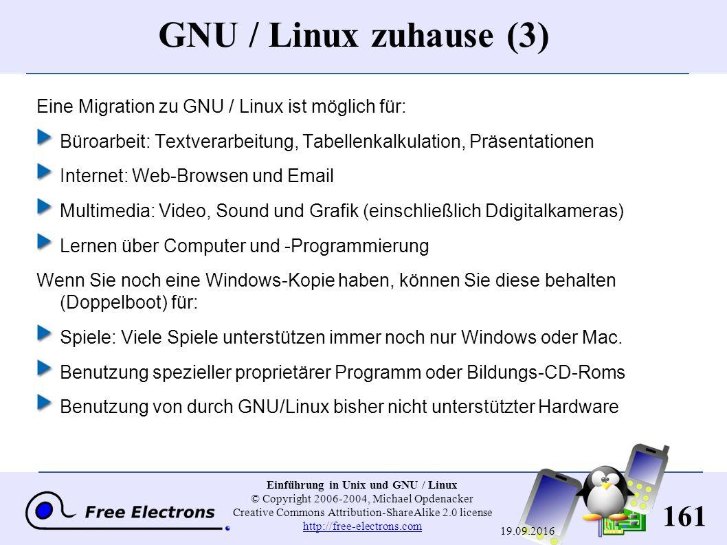 161 Einführung in Unix und GNU / Linux © Copyright 2006-2004, Michael Opdenacker Creative Commons Attribution-ShareAlike 2.0 license http://free-electrons.com http://free-electrons.com 19.09.2016 GNU / Linux zuhause (3) Eine Migration zu GNU / Linux ist möglich für: Büroarbeit: Textverarbeitung, Tabellenkalkulation, Präsentationen Internet: Web-Browsen und Email Multimedia: Video, Sound und Grafik (einschließlich Ddigitalkameras) Lernen über Computer und -Programmierung Wenn Sie noch eine Windows-Kopie haben, können Sie diese behalten (Doppelboot) für: Spiele: Viele Spiele unterstützen immer noch nur Windows oder Mac.