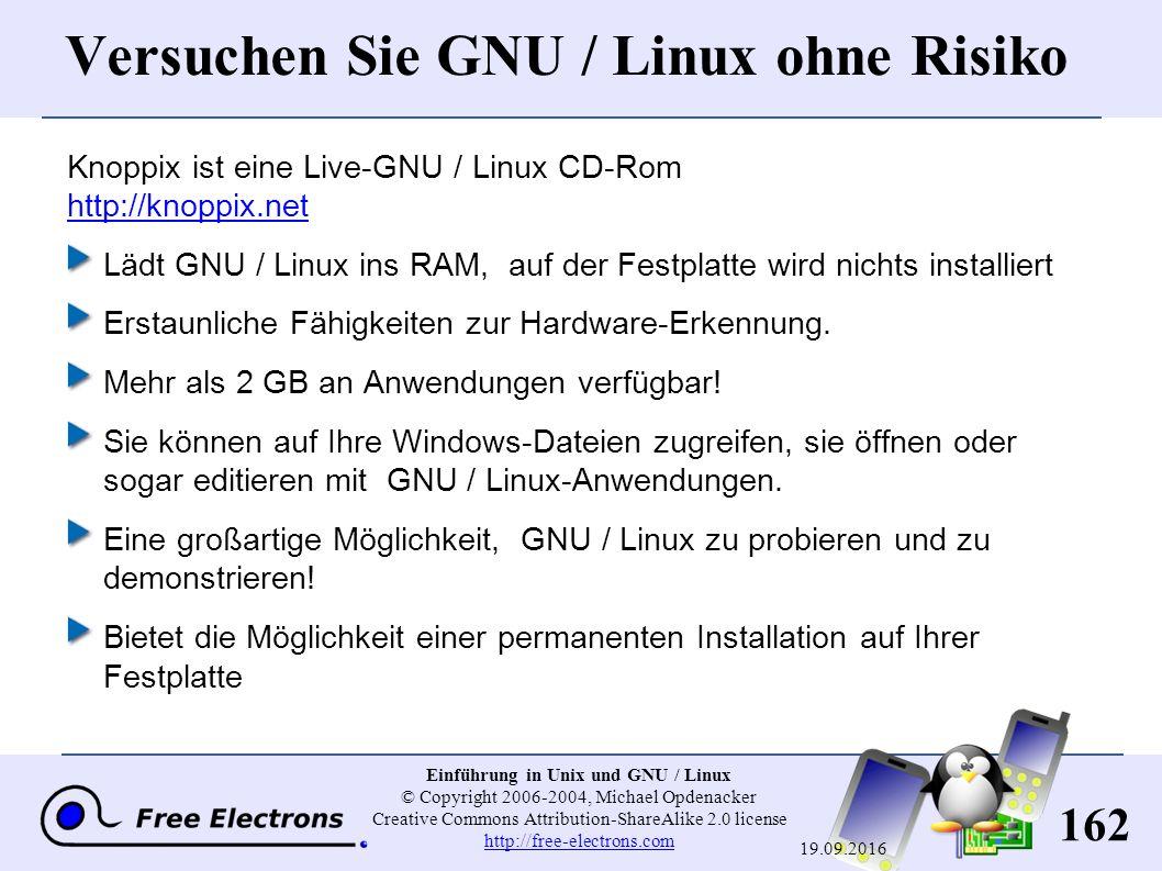 162 Einführung in Unix und GNU / Linux © Copyright 2006-2004, Michael Opdenacker Creative Commons Attribution-ShareAlike 2.0 license http://free-elect