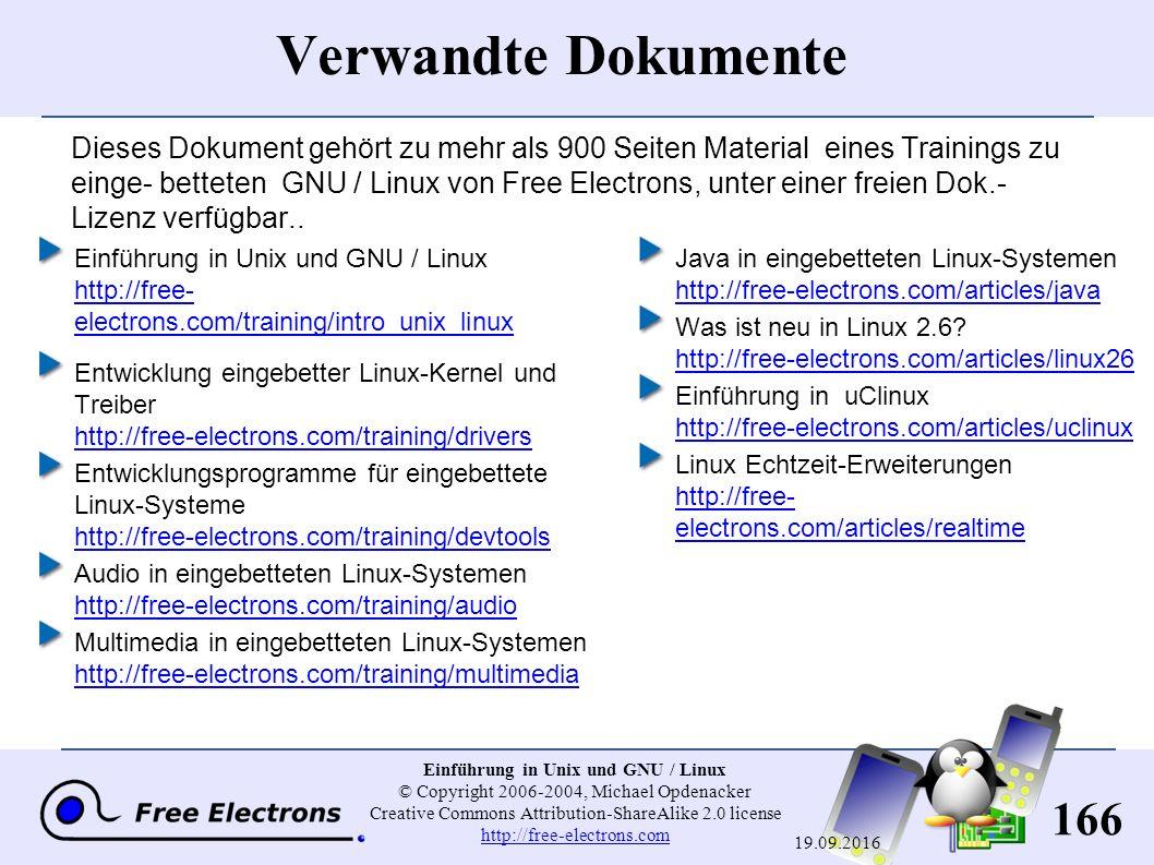 166 Einführung in Unix und GNU / Linux © Copyright 2006-2004, Michael Opdenacker Creative Commons Attribution-ShareAlike 2.0 license http://free-electrons.com http://free-electrons.com 19.09.2016 Dieses Dokument gehört zu mehr als 900 Seiten Material eines Trainings zu einge- betteten GNU / Linux von Free Electrons, unter einer freien Dok.- Lizenz verfügbar..