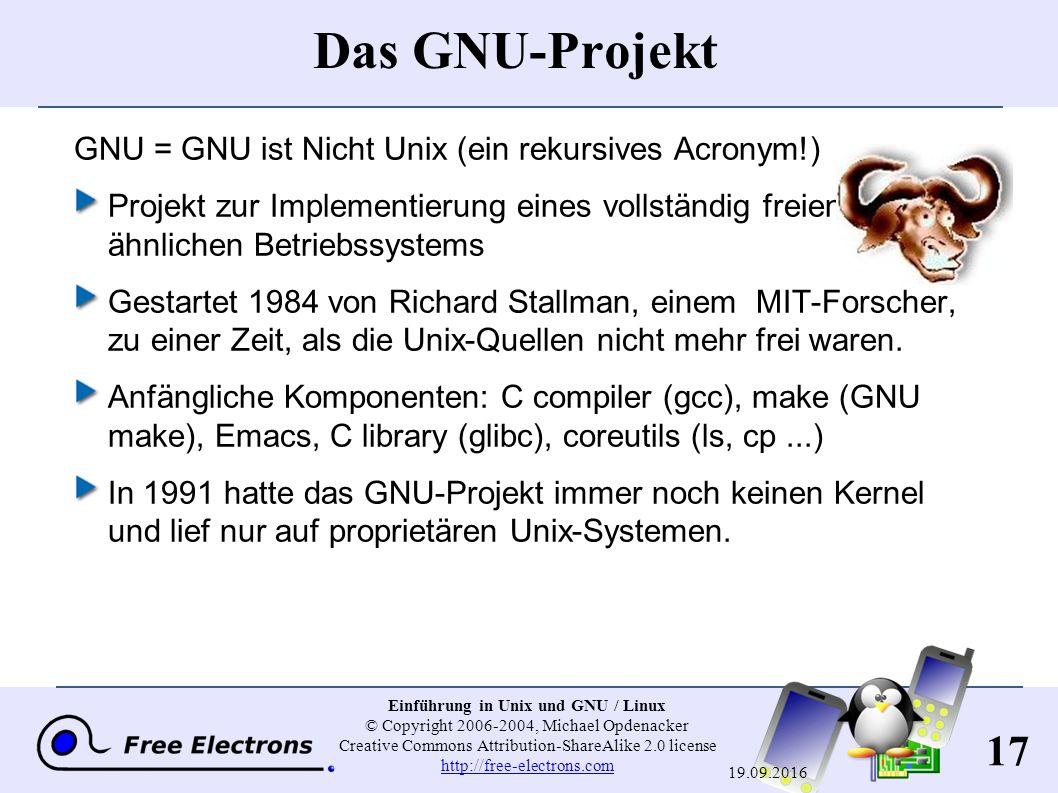 17 Einführung in Unix und GNU / Linux © Copyright 2006-2004, Michael Opdenacker Creative Commons Attribution-ShareAlike 2.0 license http://free-electr