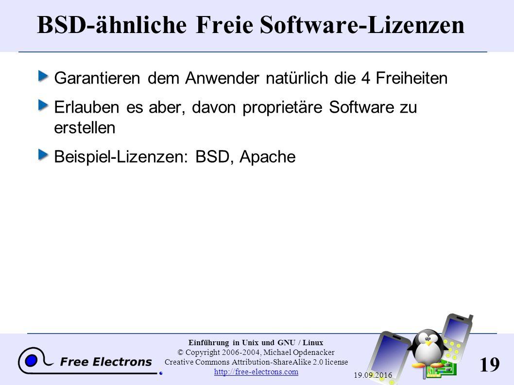 19 Einführung in Unix und GNU / Linux © Copyright 2006-2004, Michael Opdenacker Creative Commons Attribution-ShareAlike 2.0 license http://free-electrons.com http://free-electrons.com 19.09.2016 BSD-ähnliche Freie Software-Lizenzen Garantieren dem Anwender natürlich die 4 Freiheiten Erlauben es aber, davon proprietäre Software zu erstellen Beispiel-Lizenzen: BSD, Apache