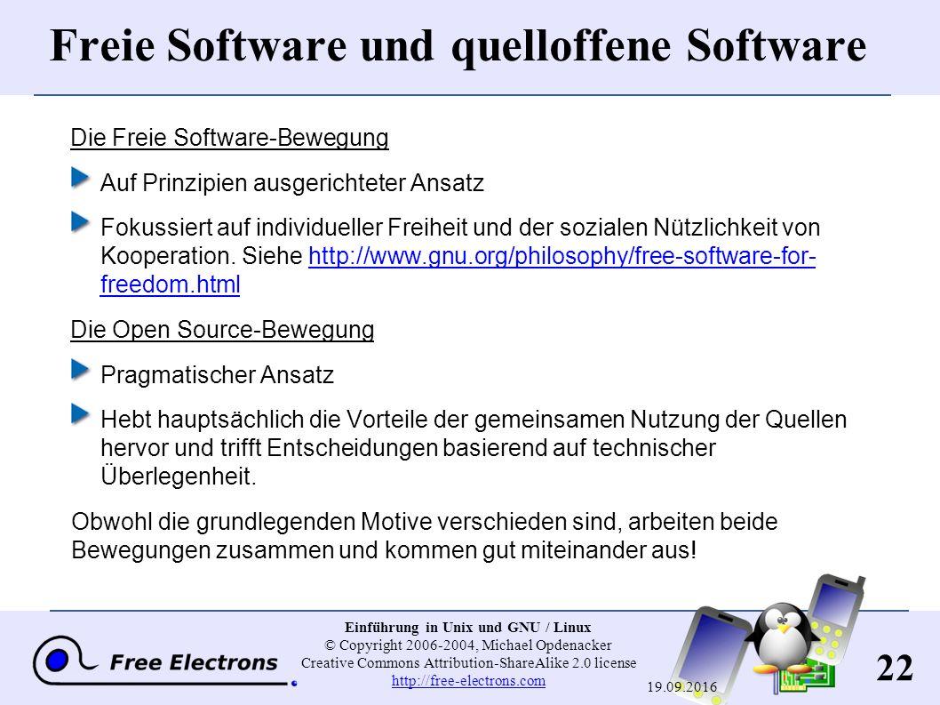 22 Einführung in Unix und GNU / Linux © Copyright 2006-2004, Michael Opdenacker Creative Commons Attribution-ShareAlike 2.0 license http://free-electr