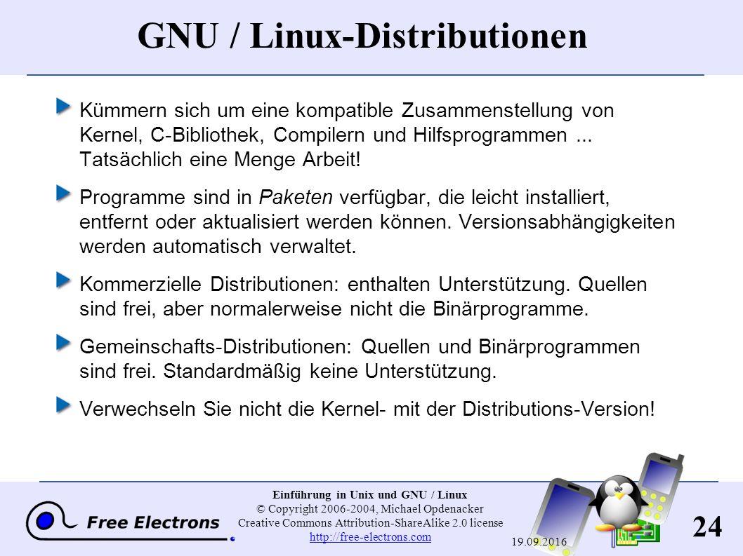 24 Einführung in Unix und GNU / Linux © Copyright 2006-2004, Michael Opdenacker Creative Commons Attribution-ShareAlike 2.0 license http://free-electrons.com http://free-electrons.com 19.09.2016 GNU / Linux-Distributionen Kümmern sich um eine kompatible Zusammenstellung von Kernel, C-Bibliothek, Compilern und Hilfsprogrammen...