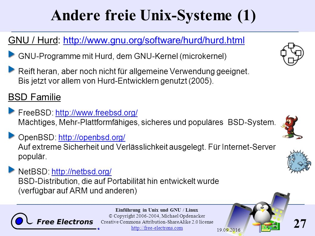 27 Einführung in Unix und GNU / Linux © Copyright 2006-2004, Michael Opdenacker Creative Commons Attribution-ShareAlike 2.0 license http://free-electr