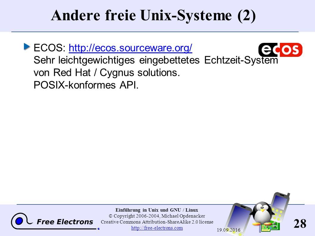 28 Einführung in Unix und GNU / Linux © Copyright 2006-2004, Michael Opdenacker Creative Commons Attribution-ShareAlike 2.0 license http://free-electr