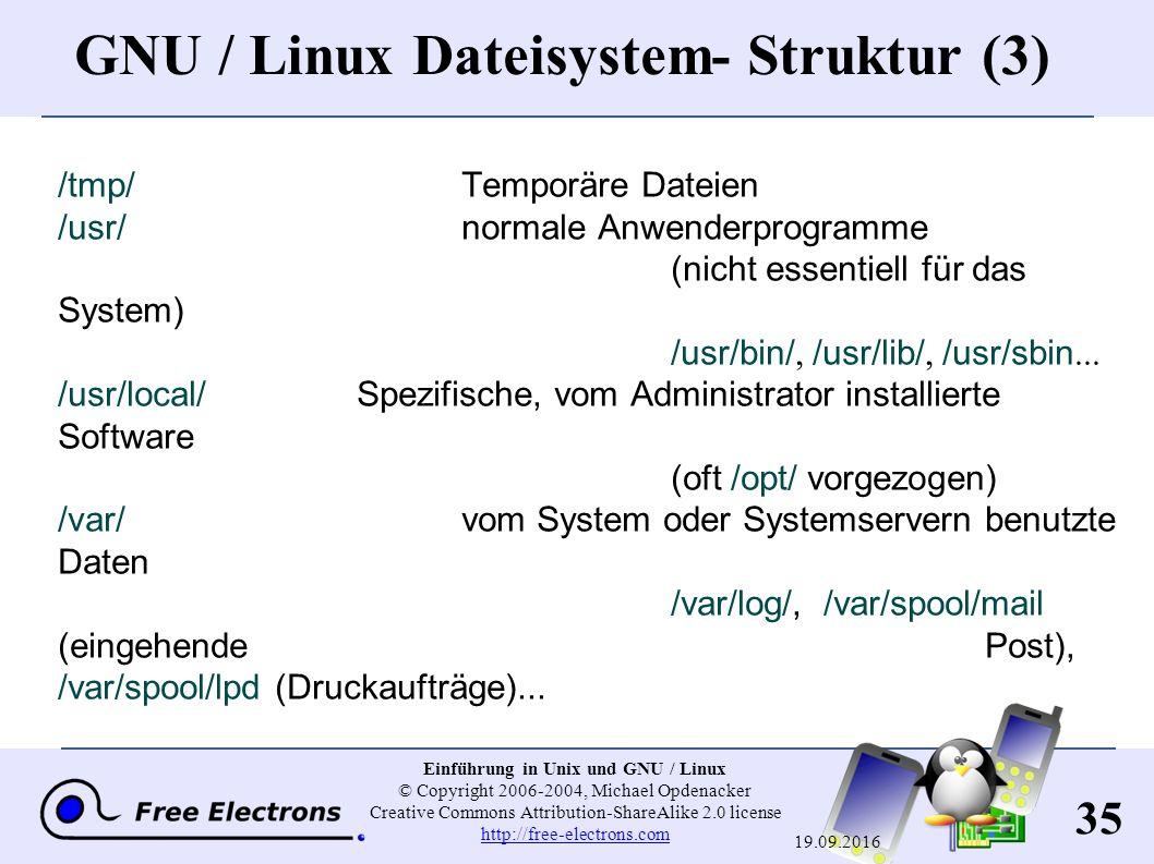 35 Einführung in Unix und GNU / Linux © Copyright 2006-2004, Michael Opdenacker Creative Commons Attribution-ShareAlike 2.0 license http://free-electr