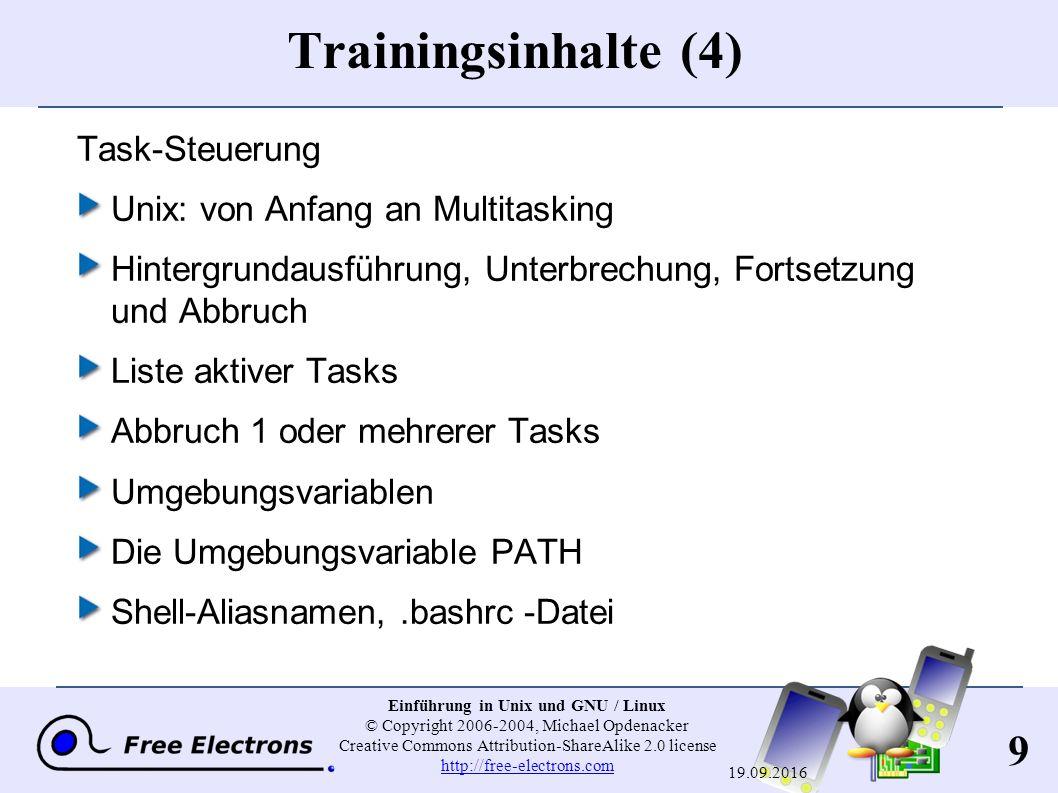 10 Einführung in Unix und GNU / Linux © Copyright 2006-2004, Michael Opdenacker Creative Commons Attribution-ShareAlike 2.0 license http://free-electrons.com http://free-electrons.com 19.09.2016 Trainingsinhalte (5) Verschiedenes Texteditoren Komprimierung und Archivierung Dateien drucken Dateien vergleichen Dateien suchen Anwenderinformationen abrufen