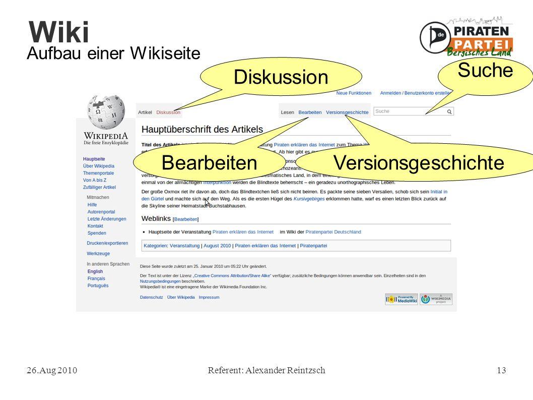 Wiki 26.Aug 2010Referent: Alexander Reintzsch13 Aufbau einer Wikiseite Suche Diskussion BearbeitenVersionsgeschichte