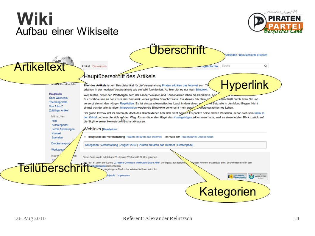 Wiki 26.Aug 2010Referent: Alexander Reintzsch14 Aufbau einer Wikiseite Hyperlink Überschrift Artikeltext Teilüberschrift Kategorien