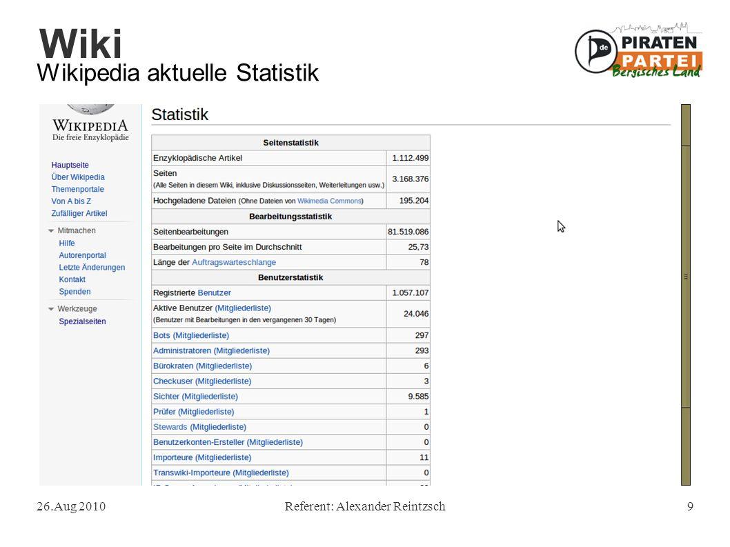 """Wiki 26.Aug 2010Referent: Alexander Reintzsch20 Qualität der Wikipedia Fazit: """"Wikipedia hat [..] einen großen Beitrag dazu geleistet, Wissen kostenlos zu machen."""