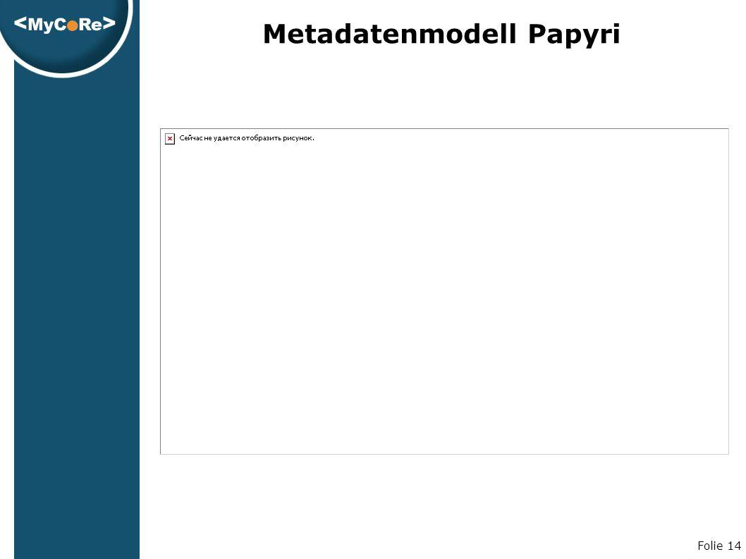 Folie 14 Metadatenmodell Papyri