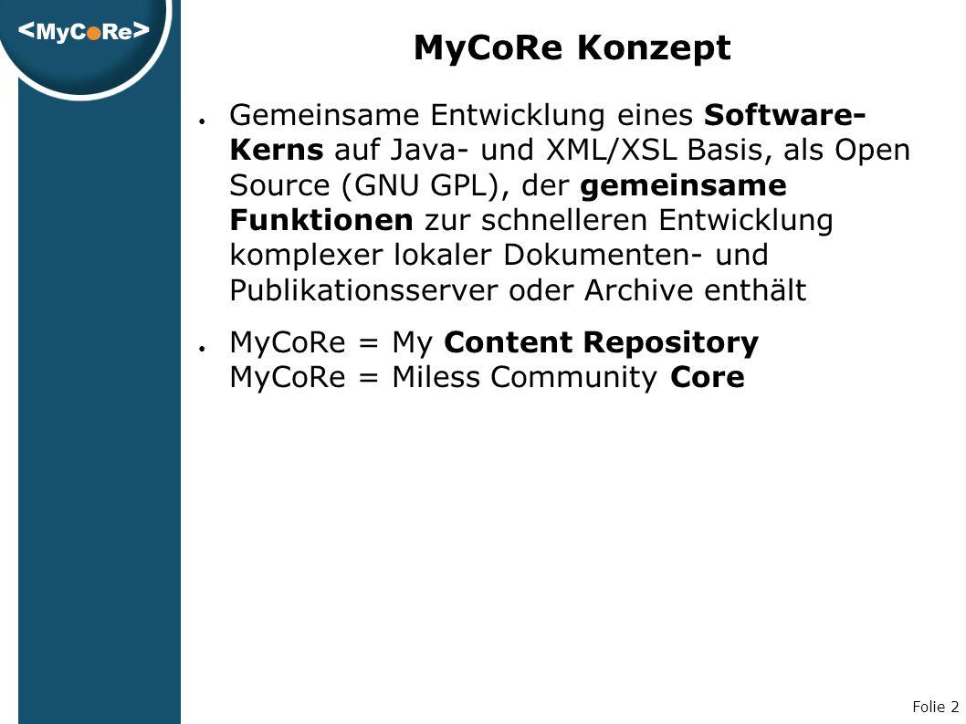 Folie 2 MyCoRe Konzept ● Gemeinsame Entwicklung eines Software- Kerns auf Java- und XML/XSL Basis, als Open Source (GNU GPL), der gemeinsame Funktionen zur schnelleren Entwicklung komplexer lokaler Dokumenten- und Publikationsserver oder Archive enthält ● MyCoRe = My Content Repository MyCoRe = Miless Community Core