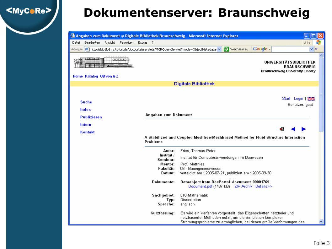 Folie 3 Dokumentenserver: Braunschweig