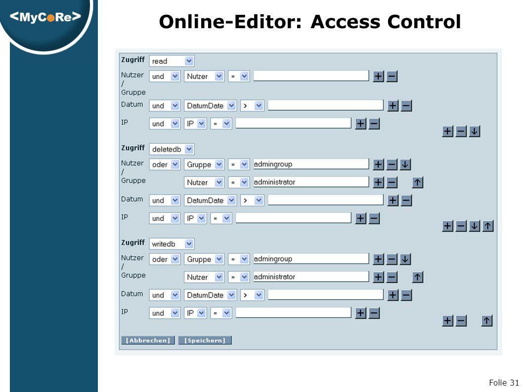 Folie 31 Online-Editor: Access Control