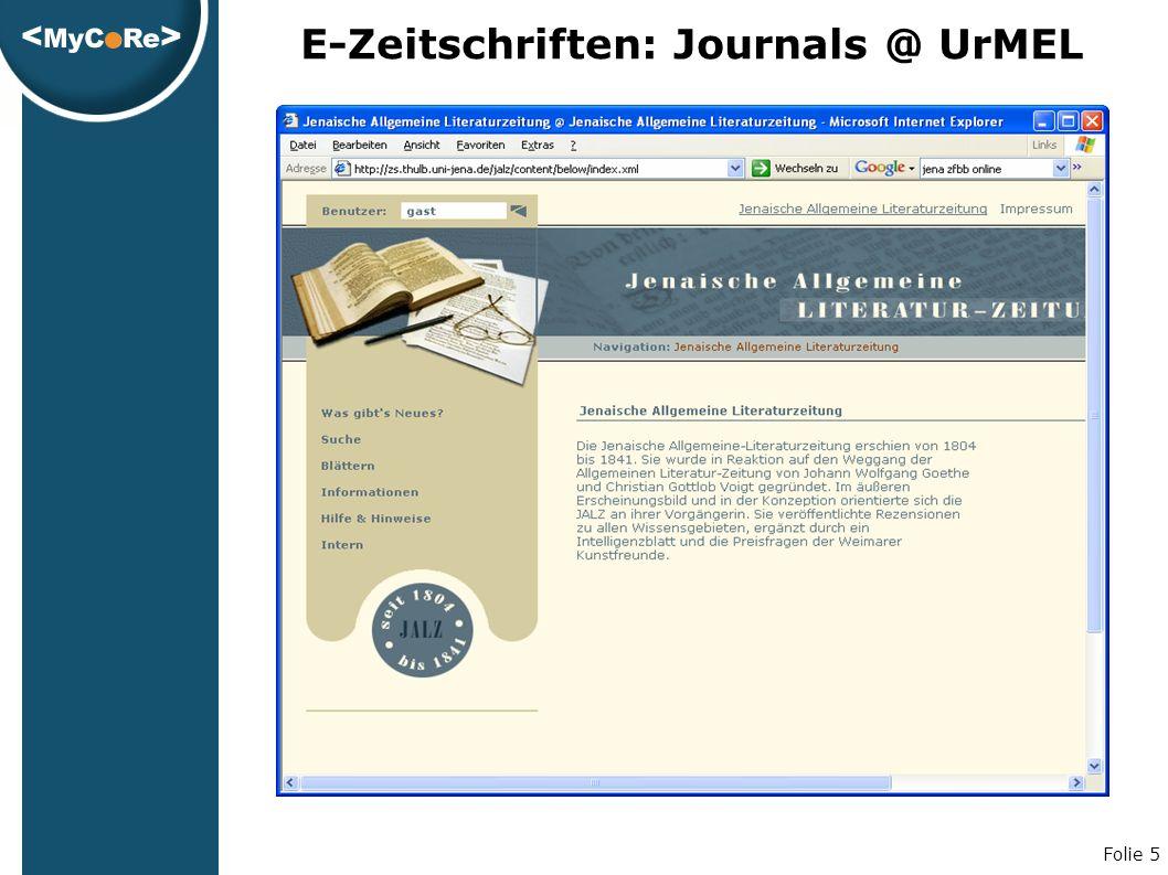 Folie 5 E-Zeitschriften: Journals @ UrMEL
