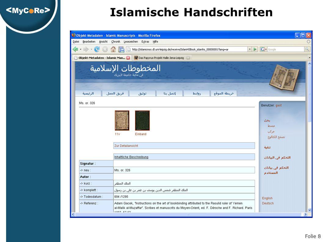 Folie 8 Islamische Handschriften