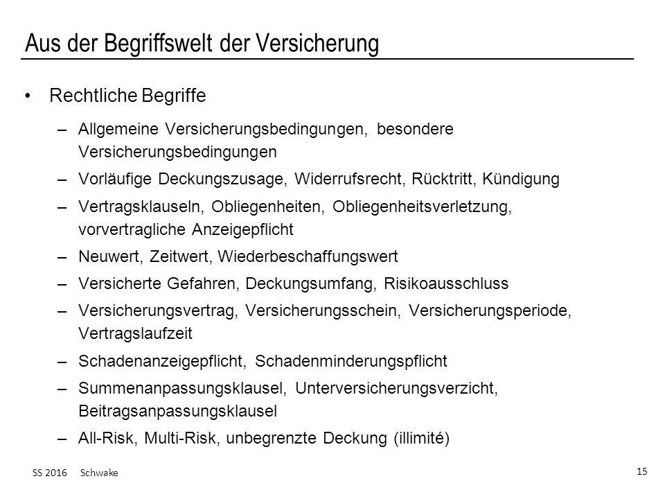 SS 2016 Schwake 15 Aus der Begriffswelt der Versicherung Rechtliche Begriffe –Allgemeine Versicherungsbedingungen, besondere Versicherungsbedingungen