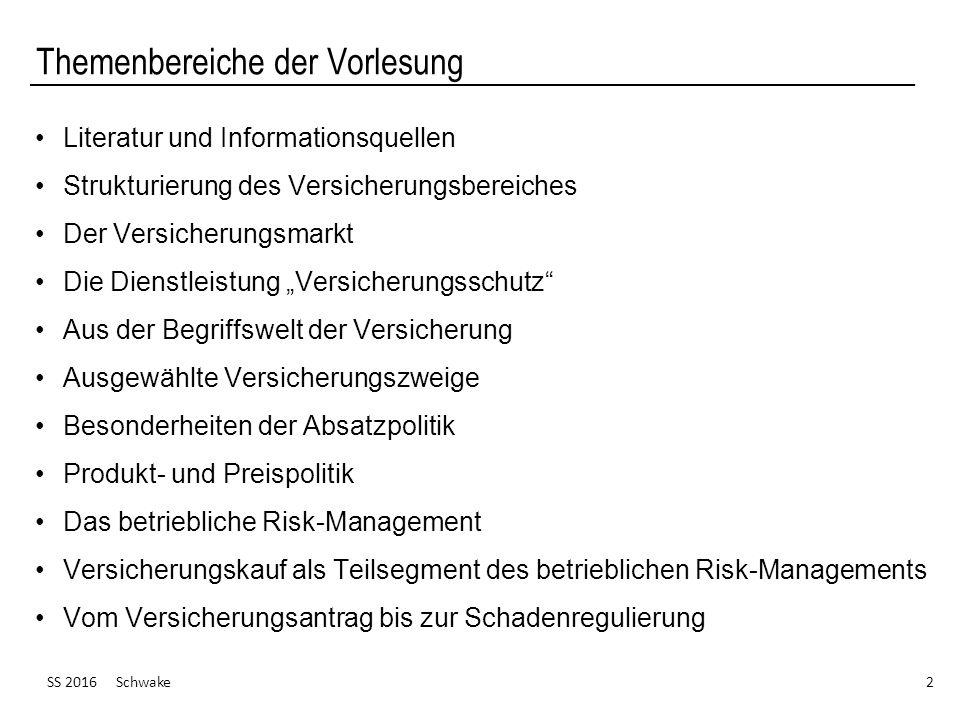 """Themenbereiche der Vorlesung Literatur und Informationsquellen Strukturierung des Versicherungsbereiches Der Versicherungsmarkt Die Dienstleistung """"Ve"""