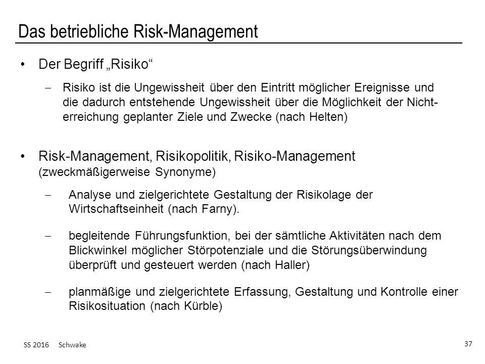 """SS 2016 Schwake 37 Das betriebliche Risk-Management Der Begriff """"Risiko""""  Risiko ist die Ungewissheit über den Eintritt möglicher Ereignisse und die"""