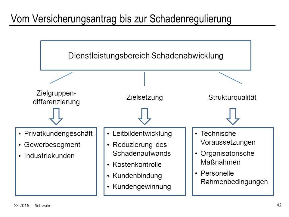 SS 2016 Schwake 42 Vom Versicherungsantrag bis zur Schadenregulierung Dienstleistungsbereich Schadenabwicklung Privatkundengeschäft Gewerbesegment Ind