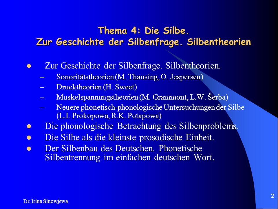 Dr.Irina Sinowjewa 2 Thema 4: Die Silbe. Zur Geschichte der Silbenfrage.