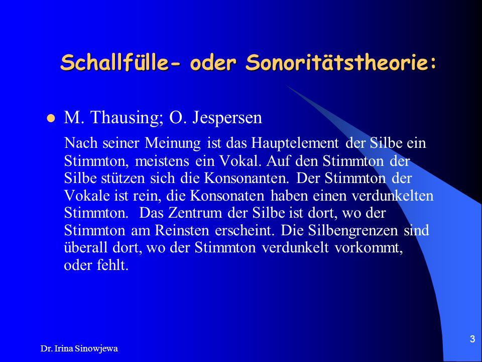 Dr. Irina Sinowjewa 2 Thema 4: Die Silbe. Zur Geschichte der Silbenfrage.