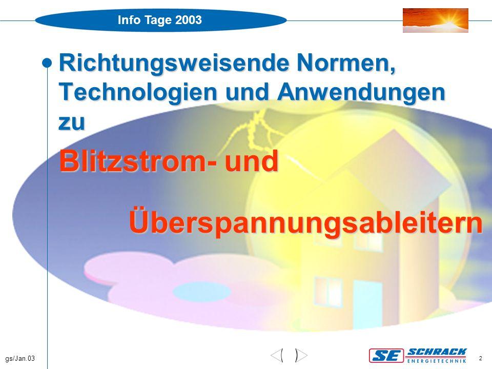 Info Tage 2003 gs/Jan.03 2 Richtungsweisende Normen, Technologien und Anwendungen zu Blitzstrom- und Überspannungsableitern