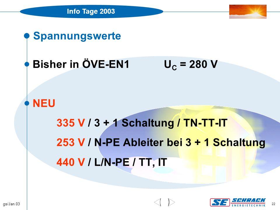 Info Tage 2003 gs/Jan.03 22 Spannungswerte  Bisher in ÖVE-EN1U C = 280 V  NEU 335 V / 3 + 1 Schaltung / TN-TT-IT 253 V / N-PE Ableiter bei 3 + 1 Sch