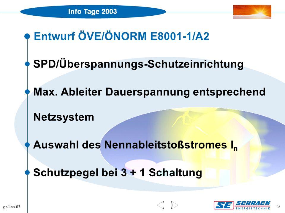 Info Tage 2003 gs/Jan.03 25 Entwurf ÖVE/ÖNORM E8001-1/A2  SPD/Überspannungs-Schutzeinrichtung  Max. Ableiter Dauerspannung entsprechend Netzsystem 