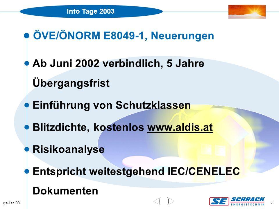 Info Tage 2003 gs/Jan.03 29 ÖVE/ÖNORM E8049-1, Neuerungen  Ab Juni 2002 verbindlich, 5 Jahre Übergangsfrist  Einführung von Schutzklassen  Blitzdic