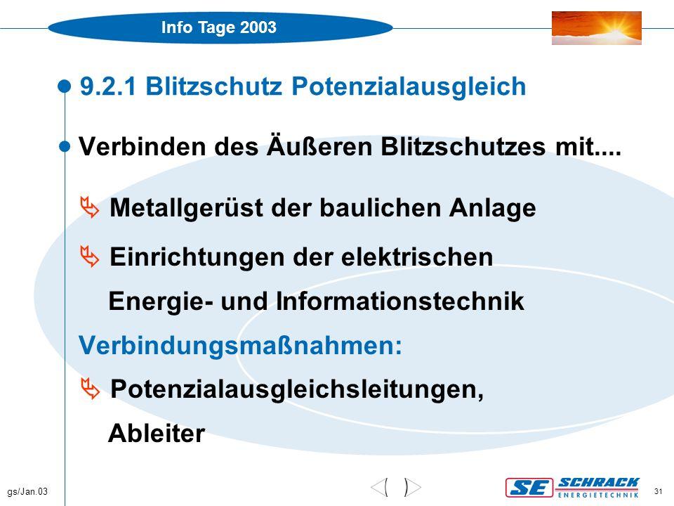 Info Tage 2003 gs/Jan.03 31 9.2.1 Blitzschutz Potenzialausgleich  Verbinden des Äußeren Blitzschutzes mit....  Metallgerüst der baulichen Anlage  E