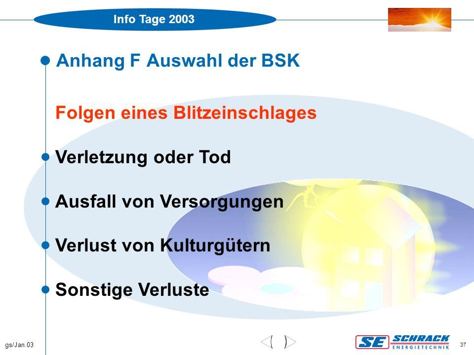 Info Tage 2003 gs/Jan.03 37 Anhang F Auswahl der BSK Folgen eines Blitzeinschlages  Verletzung oder Tod  Ausfall von Versorgungen  Verlust von Kult