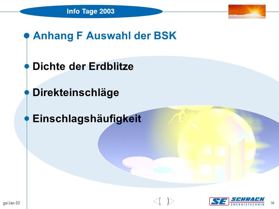 Info Tage 2003 gs/Jan.03 38 Anhang F Auswahl der BSK  Dichte der Erdblitze  Direkteinschläge  Einschlagshäufigkeit