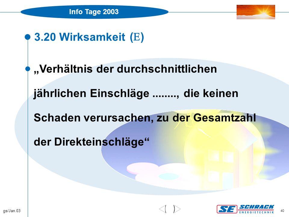 """Info Tage 2003 gs/Jan.03 40 3.20 Wirksamkeit  """"Verhältnis der durchschnittlichen jährlichen Einschläge........, die keinen Schaden verursachen, zu de"""