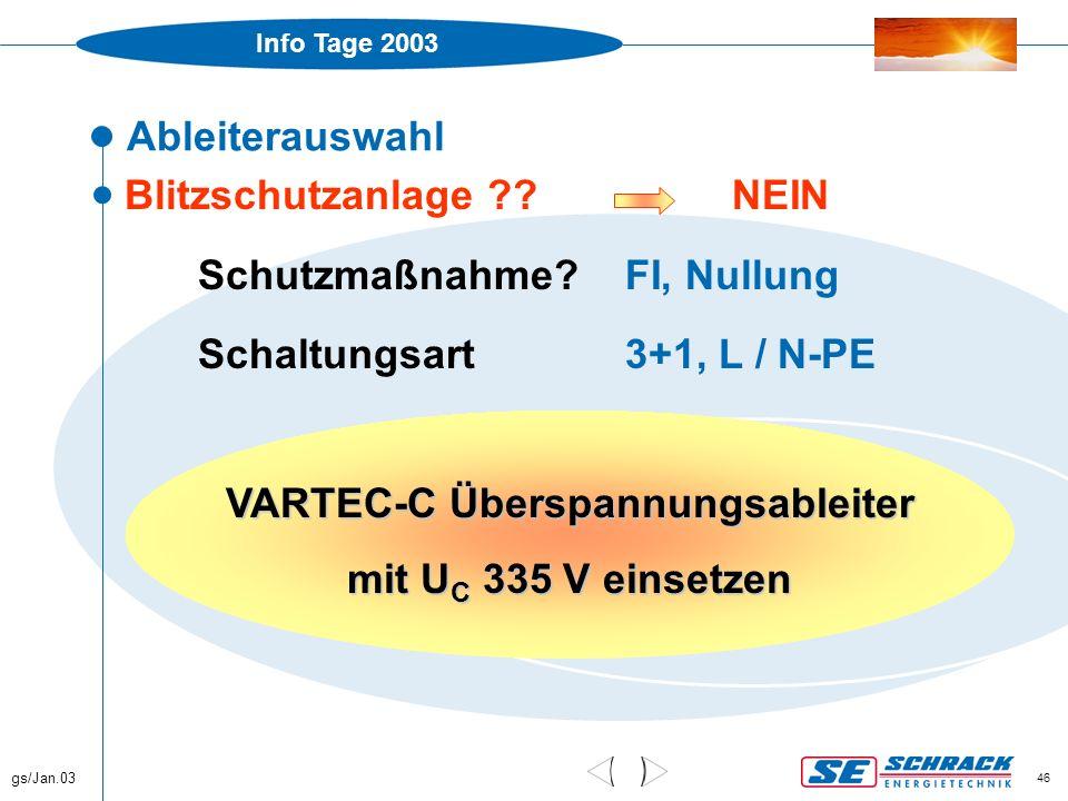 Info Tage 2003 gs/Jan.03 46 Ableiterauswahl  Blitzschutzanlage ?? NEIN Schutzmaßnahme?FI, Nullung Schaltungsart3+1, L / N-PE VARTEC-C Überspannungsab