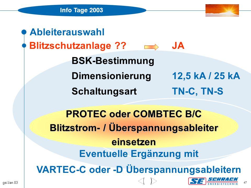 Info Tage 2003 gs/Jan.03 47 Ableiterauswahl  Blitzschutzanlage ?? JA BSK-Bestimmung Dimensionierung12,5 kA / 25 kA SchaltungsartTN-C, TN-S Eventuelle