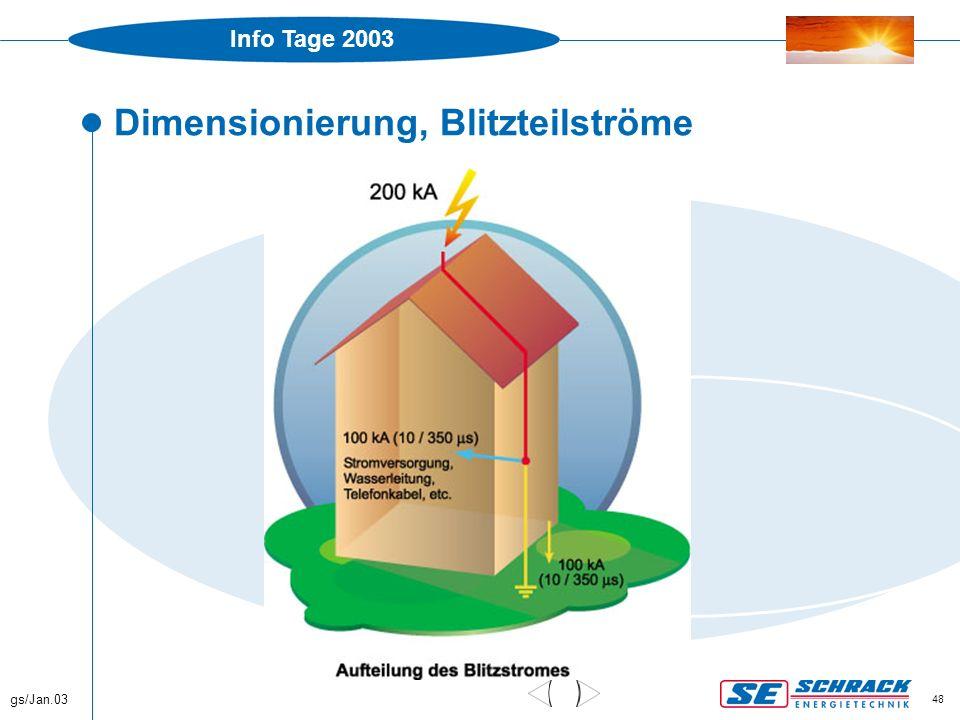 Info Tage 2003 gs/Jan.03 48 Dimensionierung, Blitzteilströme