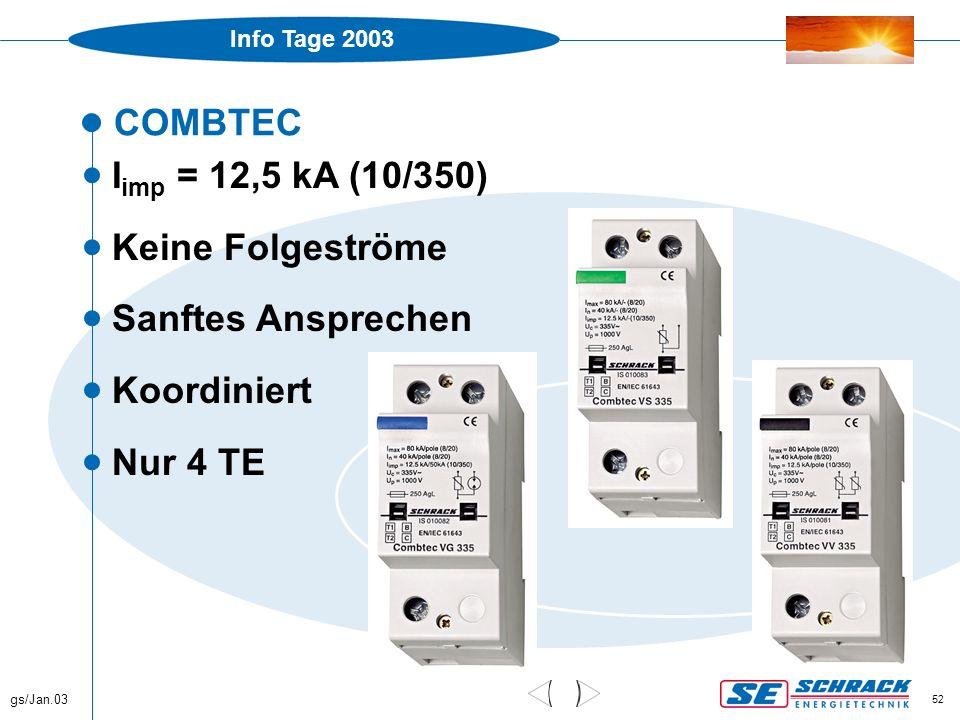 Info Tage 2003 gs/Jan.03 52 COMBTEC  I imp = 12,5 kA (10/350)  Keine Folgeströme  Sanftes Ansprechen  Koordiniert  Nur 4 TE
