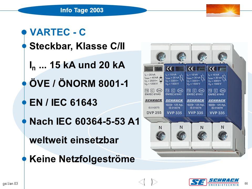 Info Tage 2003 gs/Jan.03 55 VARTEC - C  Steckbar, Klasse C/II I n... 15 kA und 20 kA  ÖVE / ÖNORM 8001-1  EN / IEC 61643  Nach IEC 60364-5-53 A1 w