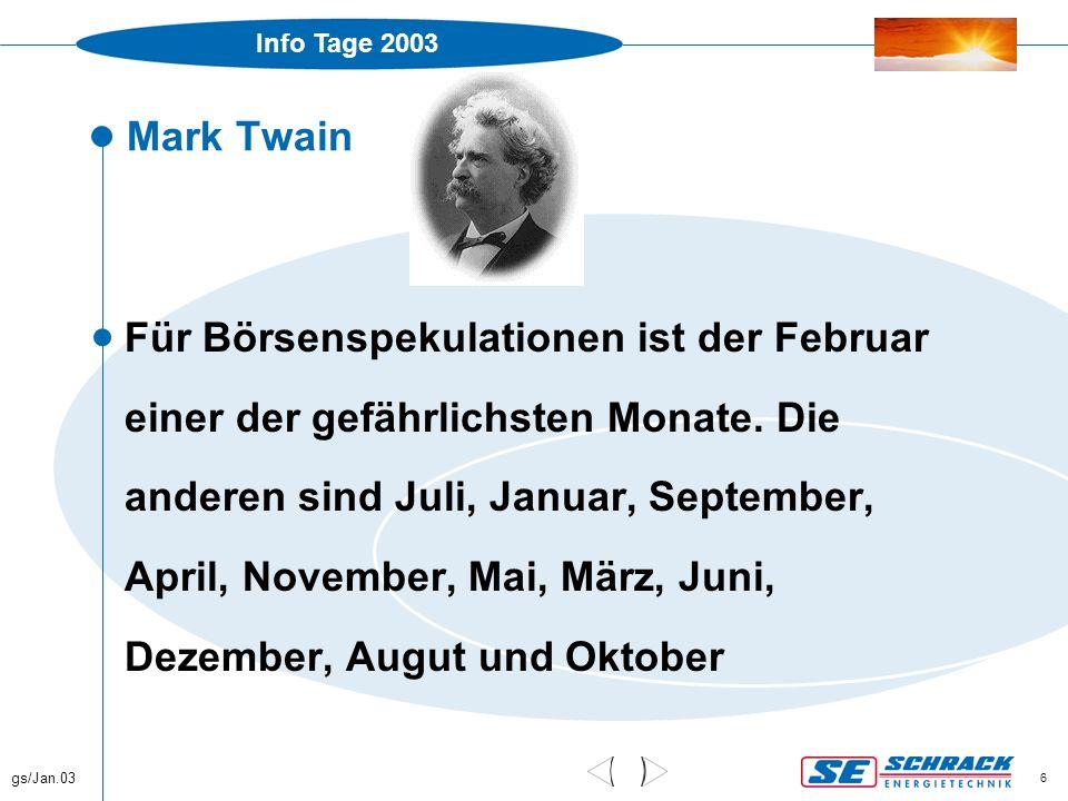 Info Tage 2003 gs/Jan.03 6 Mark Twain  Für Börsenspekulationen ist der Februar einer der gefährlichsten Monate. Die anderen sind Juli, Januar, Septem
