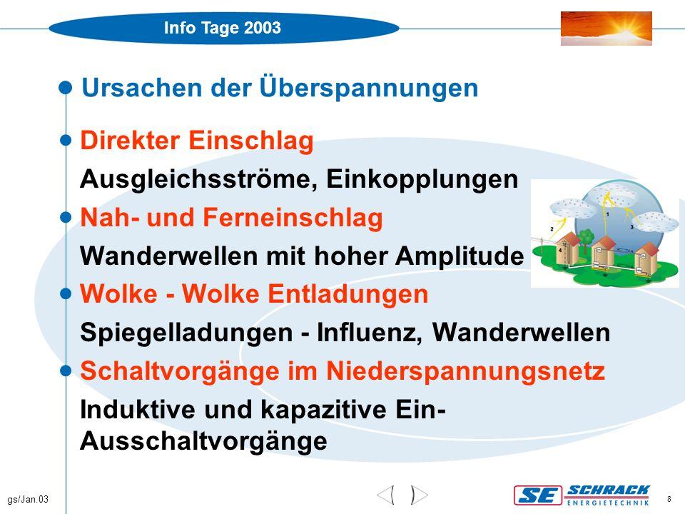 Info Tage 2003 gs/Jan.03 29 ÖVE/ÖNORM E8049-1, Neuerungen  Ab Juni 2002 verbindlich, 5 Jahre Übergangsfrist  Einführung von Schutzklassen  Blitzdichte, kostenlos www.aldis.at  Risikoanalyse  Entspricht weitestgehend IEC/CENELEC Dokumenten