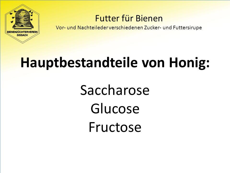 Futter für Bienen Vor- und Nachteileder verschiedenen Zucker- und Futtersirupe Hauptbestandteile von Honig: Saccharose Glucose Fructose