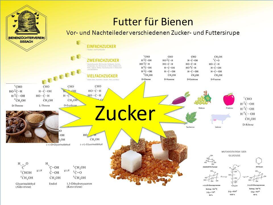 Futter für Bienen Vor- und Nachteileder verschiedenen Zucker- und Futtersirupe Zucker
